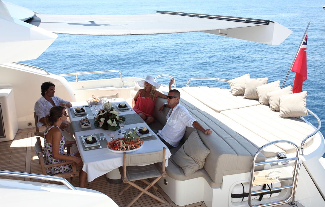 Ibiza yacht charter Sunseeker Predator 84